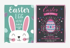 Set of Easter egg hunt invitation template. royalty free stock photos