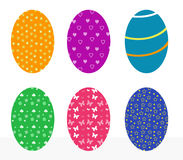 Set of easter eggs. Set of colorful easter eggs with flowers, stars, butterflies, hearts Stock Photo