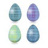 RoSet of Easter eggs with abstract geometric ornament with blue, purple, yellow,green lines on white backgund vector illustration