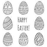 Set of Easter eggs. Black and white ornament drawing by hand. Vector illustration Royalty Free Stock Image