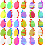 Set of 30 easter eggs with bow Royalty Free Stock Photography
