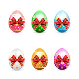 Set of Easter eggs with bow Royalty Free Stock Photography