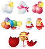 Set of easter eggs and chicks Royalty Free Stock Photos