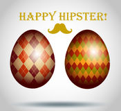 Set of easter eggs decorative hipster style. Stock Image