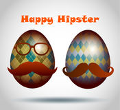 Set of easter eggs decorative hipster style. Royalty Free Stock Photo