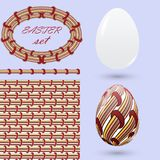 Set with Easter eggs and design elements in the style of zenart. Stylish vintage color Handmade decorations for design announcemen Royalty Free Stock Images