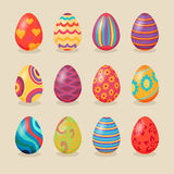 Set of Easter Eggs Design Flat Royalty Free Stock Photo