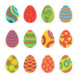 Set of Easter Eggs Design Flat Royalty Free Stock Image