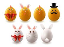 Set of Easter Eggs with Design stock image