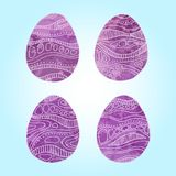 Set of Easter eggs with different texture, purple violet colour on a blue background.Spring holiday. Vector Illustration.Happy easter eggs Stock Photo