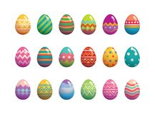 Set of easter eggs flat design on white background. Stock Images