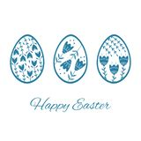 Set of Easter eggs with floral and plant ornamental. Folk style collection, laconic vector graphic Scandinavian style. Blue color. Holiday card celebration vector illustration