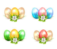 Set of Easter eggs with flowers Royalty Free Stock Image