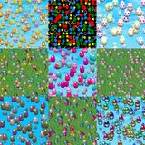 Set of easter eggs generated seamless textures. Or backgrounds Stock Illustration