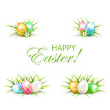 Set of Easter eggs with grass and flower Stock Image