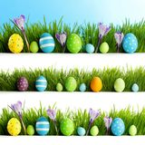 Set of easter eggs in grass Royalty Free Stock Images