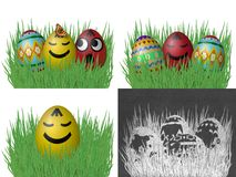 Set of easter eggs on grass Stock Image