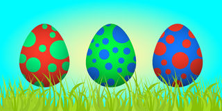 Set of Easter eggs on the grass Royalty Free Stock Images