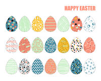 Set of 21 Easter eggs Stock Photo