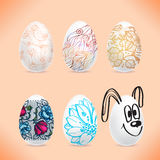 Set of Easter eggs with the image of colored patterns with Royalty Free Stock Photos