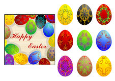 Set of easter eggs Stock Photos