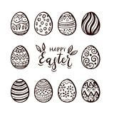 Set of Easter eggs and lettering. Black lettering Happy Easter with rabbit ears. Set of eggs with pattern, isolated on white background, illustration vector illustration