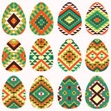 Set of easter eggs in navajo style Royalty Free Stock Images