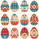 Set of easter eggs in navajo style Royalty Free Stock Photography