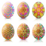 Set of Easter eggs with ornament and reflection Stock Images