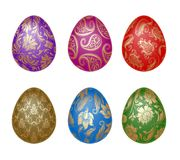 Set of Easter eggs with ornaments Royalty Free Stock Images