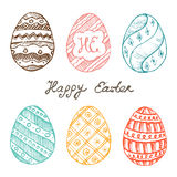 Set of Easter eggs with patterns, ornaments and lettering. Easte Stock Images