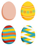Set of 4 Easter eggs - plain and 3 decorated Royalty Free Stock Image