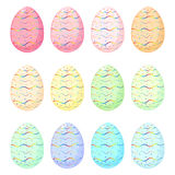 Set of Easter eggs with rainbow pattern Royalty Free Stock Photography