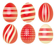 Set of Easter eggs in red  Stock Photos