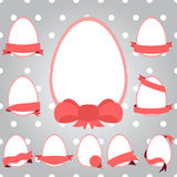 Set easter eggs with ribbon. Vector royalty free illustration