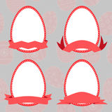 Set easter eggs with ribbon. Vector vector illustration