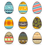 Set easter eggs with ribbon Royalty Free Stock Images