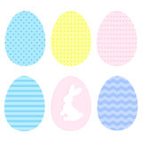 Set of easter eggs. Simple geometric style. Pastel colors. Bunny silhouette Royalty Free Stock Photography