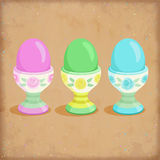 Set of easter eggs on stands Stock Images