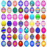 Set of Easter eggs on the white background Royalty Free Stock Images