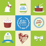 Set of easter elements and labels Royalty Free Stock Photos