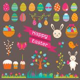Set of Easter flat elements Stock Images