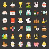 Set of easter, flat icon royalty free illustration