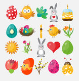 Set Easter flat icons for design, vector Royalty Free Stock Images