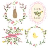 Set of  easter frames and elements Stock Photos