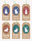 Set of Easter Gift Tags with Bunny Rabbit silhouette. Vector set of Easter tags with cute bunnies silhouette and floral eggs. Colorful spring label cards. For Royalty Free Stock Image