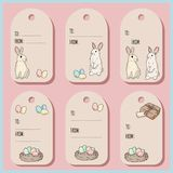 Set with Easter gift tags and cards with Easter bunny. Vector illustration vector illustration