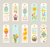 Set of Easter gift tags and labels with cute cartoon characters. And type design . Easter greetings with bunny, chickens, eggs and flowers. Vector illustration vector illustration