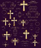 Set of easter golden vintage design with crosses Royalty Free Stock Photos