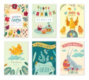 Set of Easter greeting cards with cute cartoon characters and flowers royalty free illustration